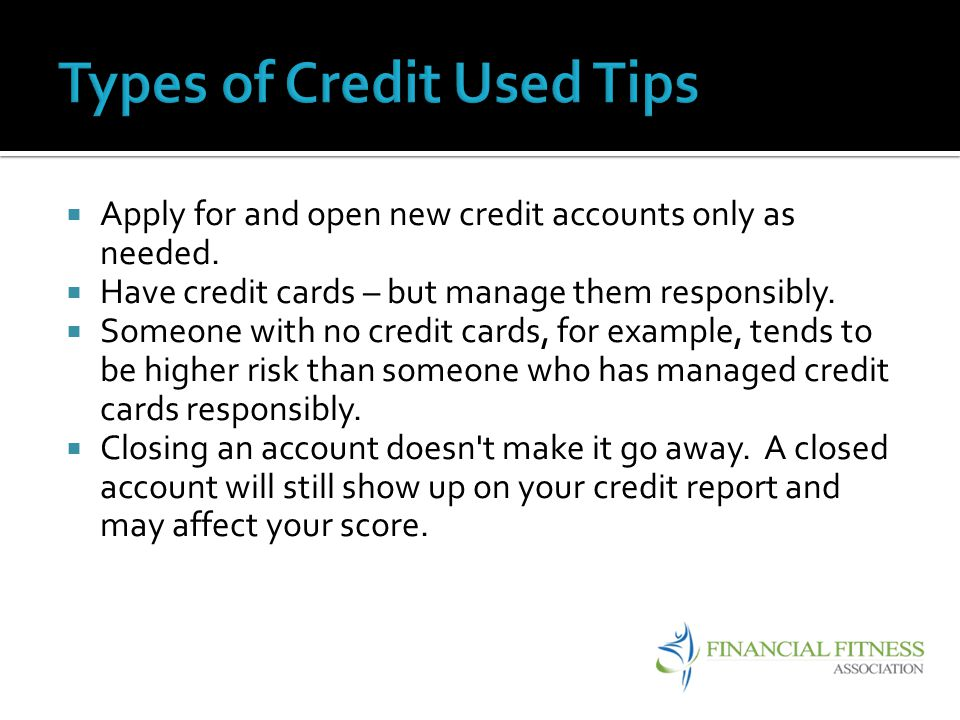 Types of Credit Used Tips
