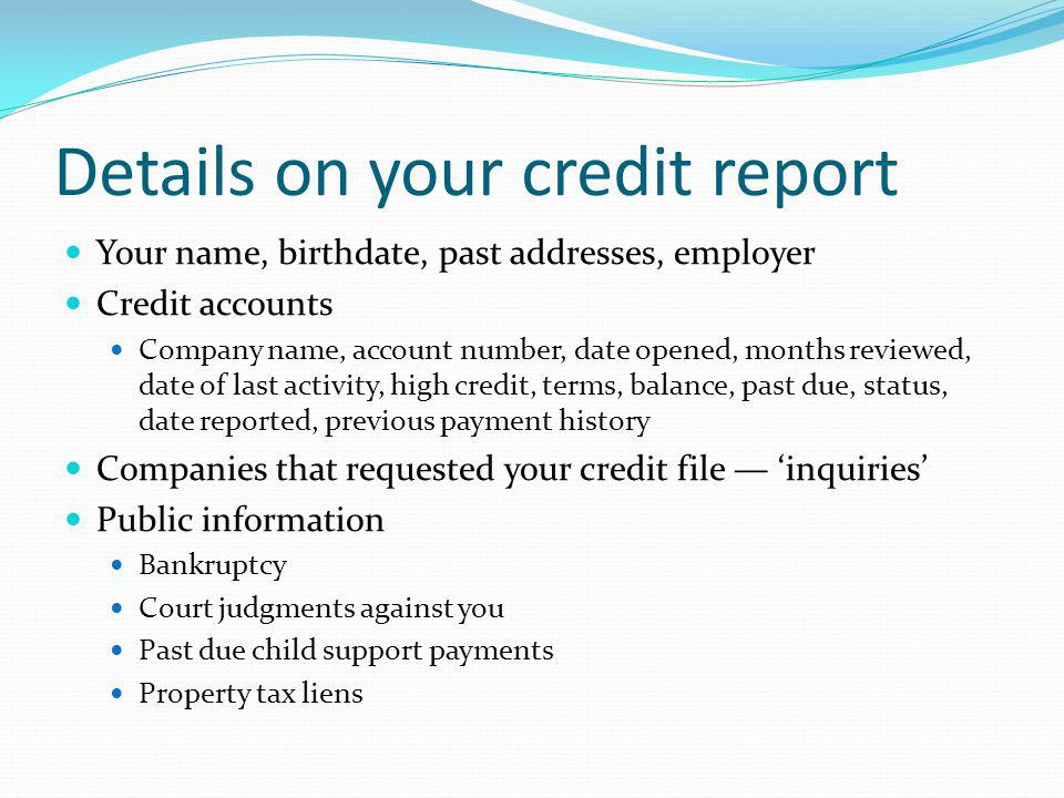 Details on your credit report