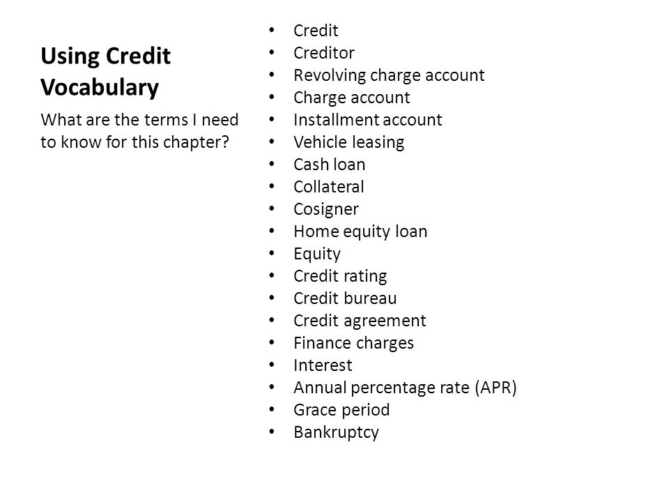Using Credit Vocabulary