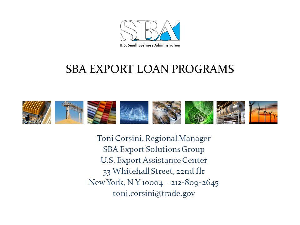 SBA EXPORT LOAN PROGRAMS