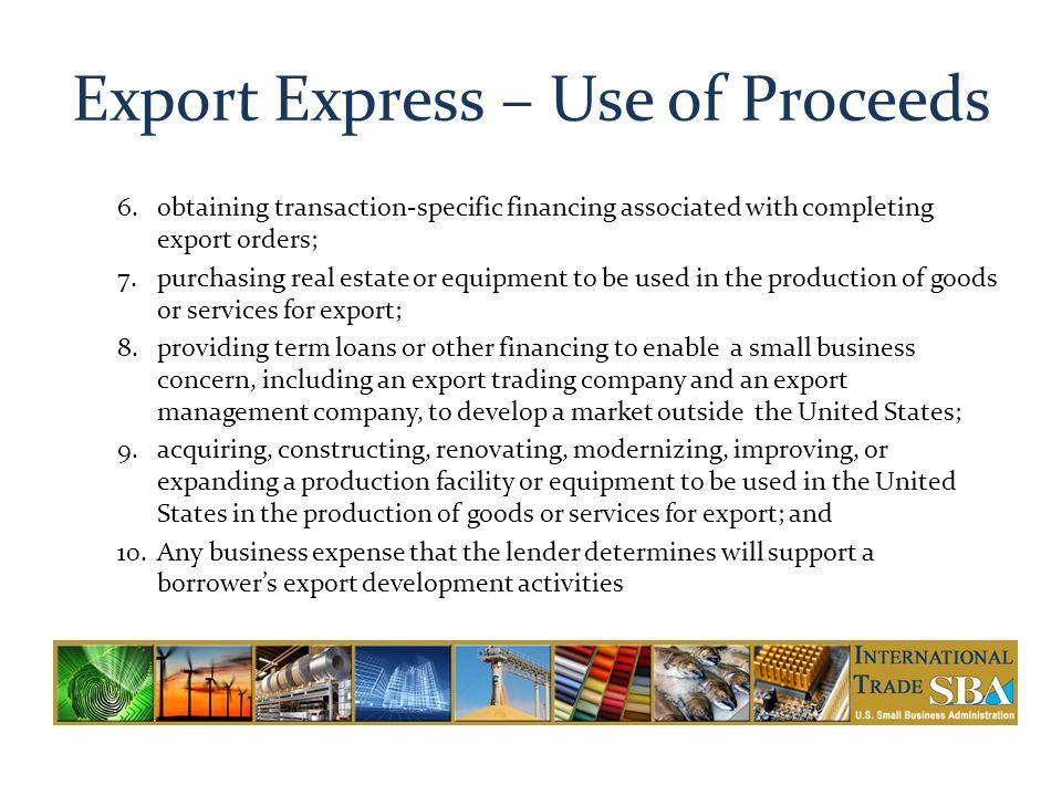 Export Express – Use of Proceeds
