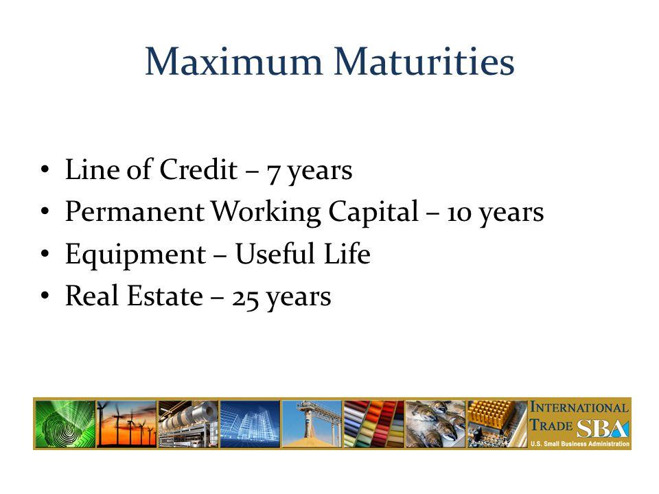 Maximum Maturities Line of Credit – 7 years