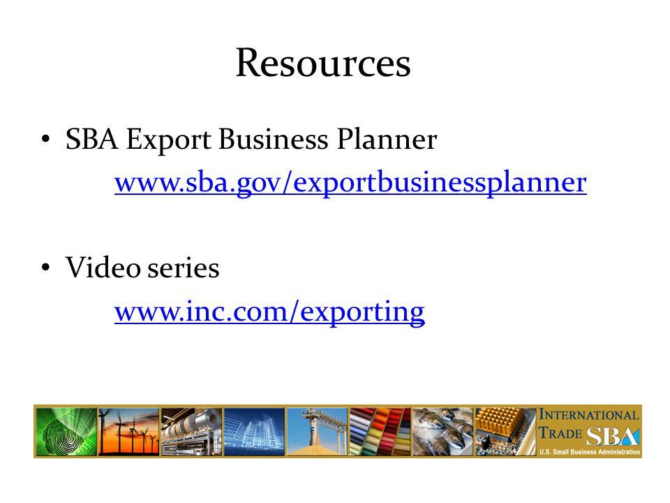 Resources SBA Export Business Planner