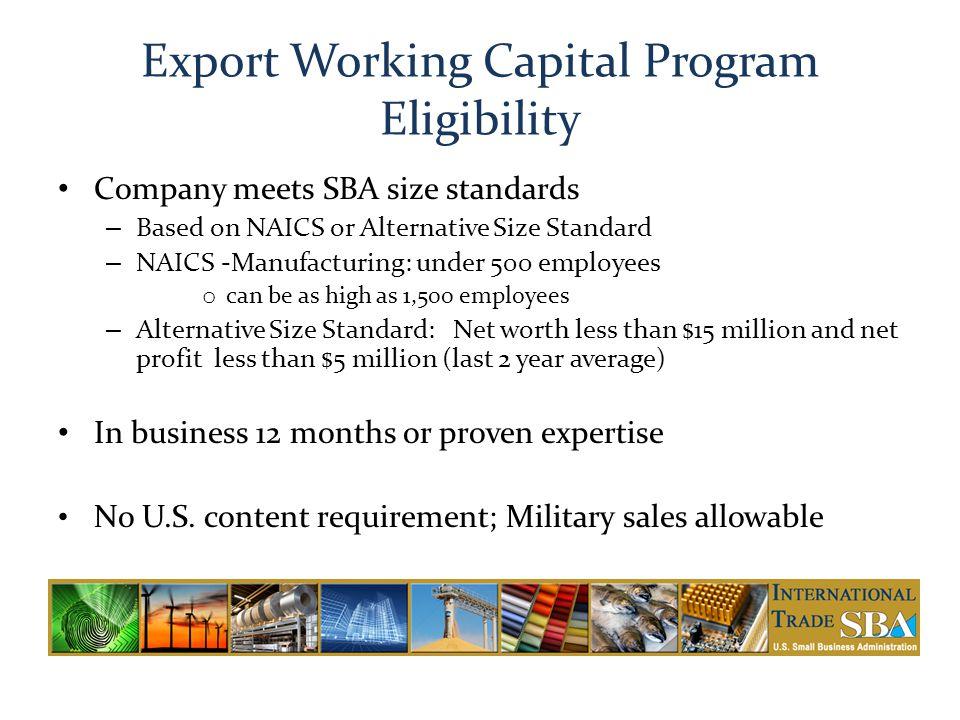 Export Working Capital Program Eligibility