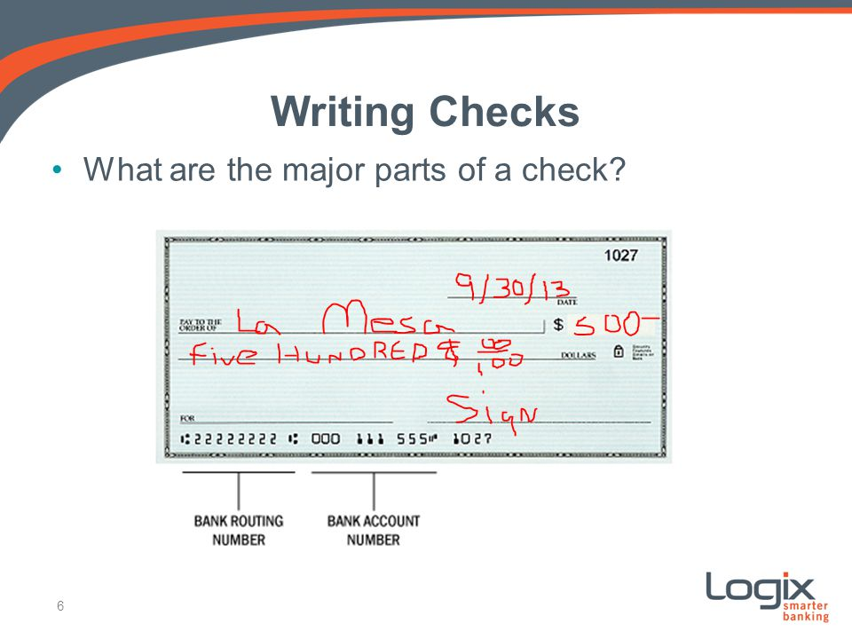 Writing Checks What are the major parts of a check