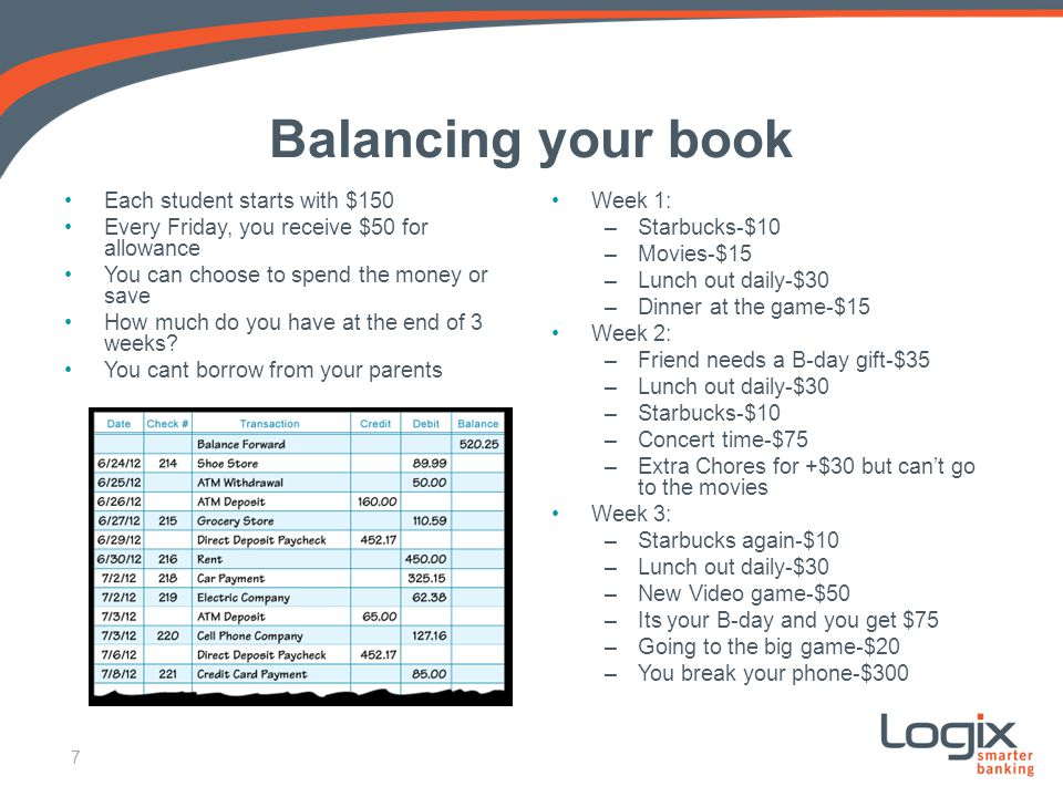 Balancing your book Each student starts with $150