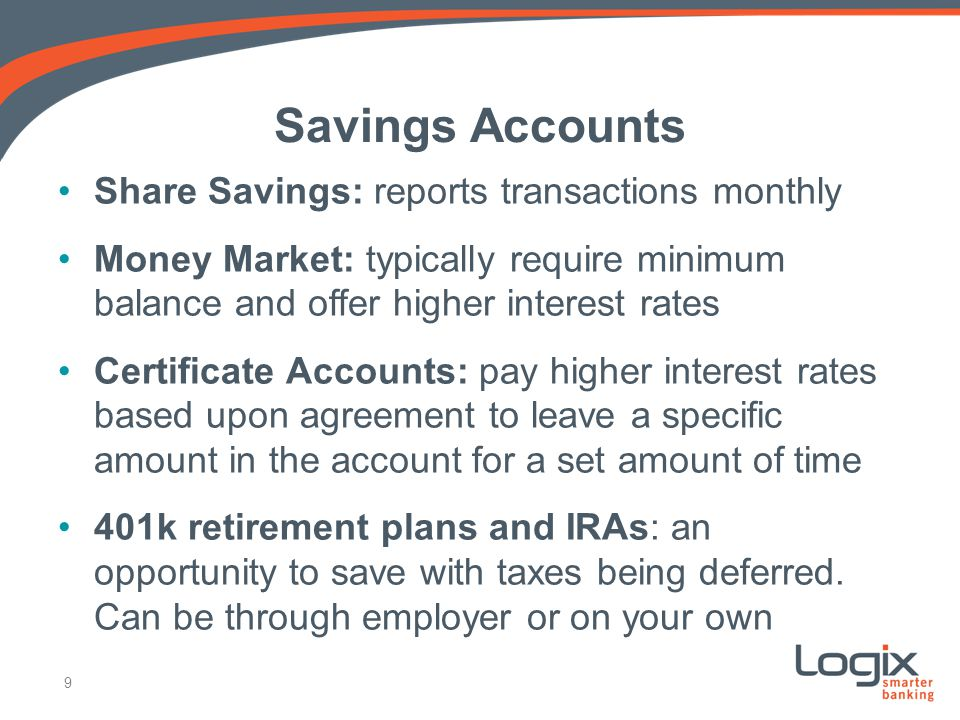 Savings Accounts Share Savings: reports transactions monthly