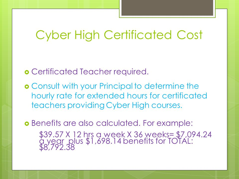 Cyber High Certificated Cost