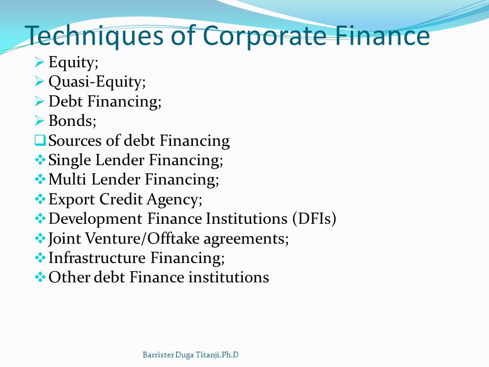 Techniques of Corporate Finance