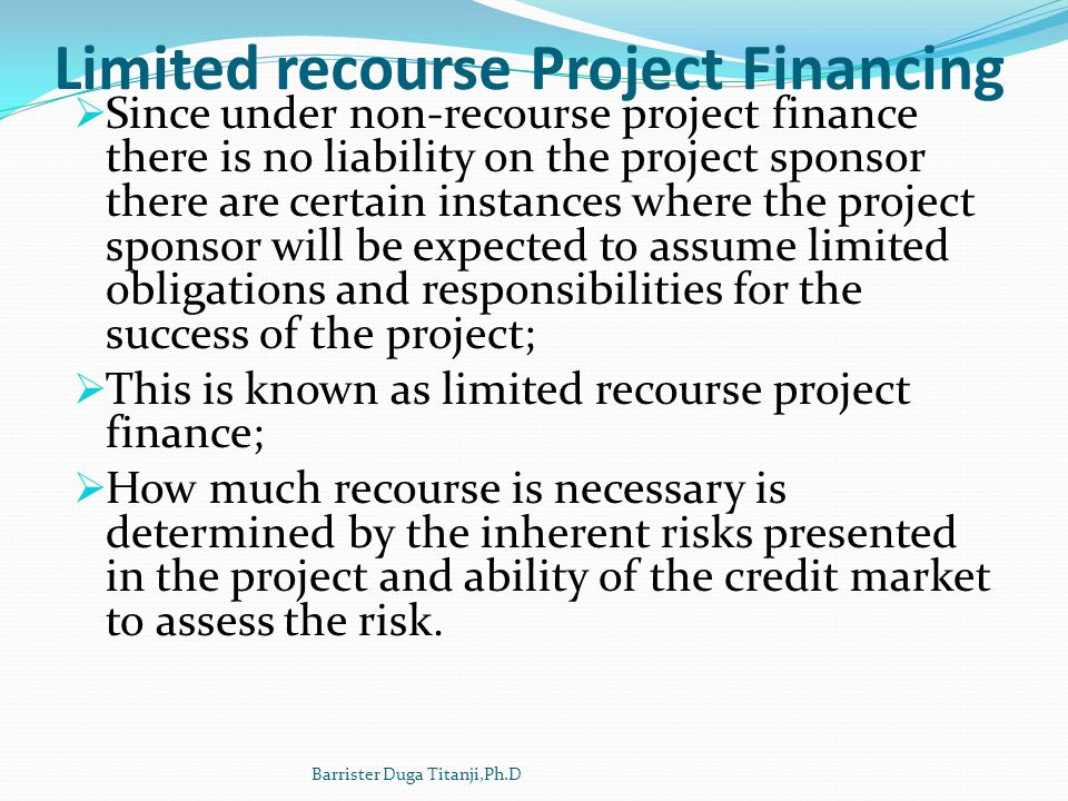 Limited recourse Project Financing