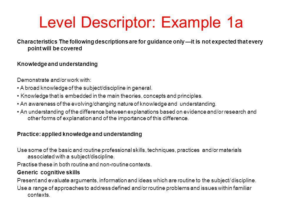 Level Descriptor: Example 1a