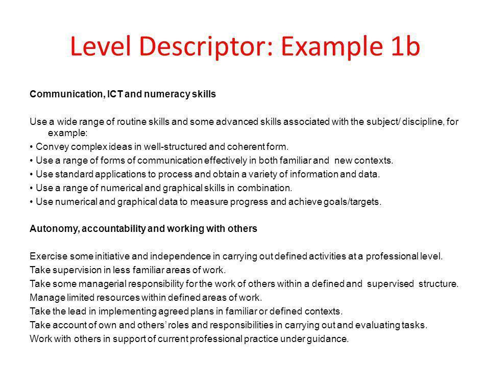 Level Descriptor: Example 1b
