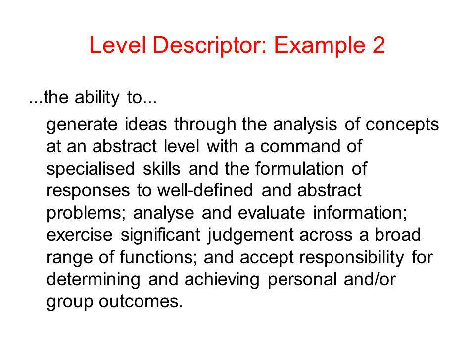 Level Descriptor: Example 2