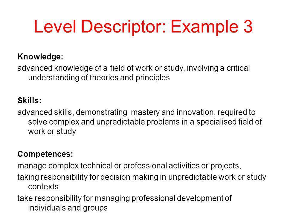 Level Descriptor: Example 3