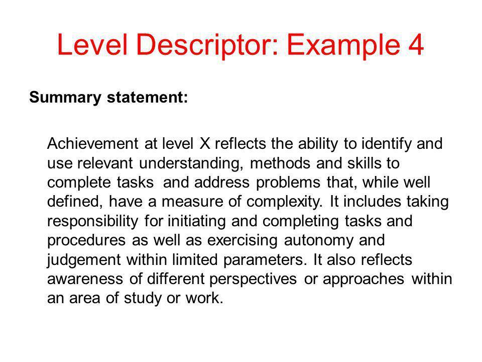 Level Descriptor: Example 4