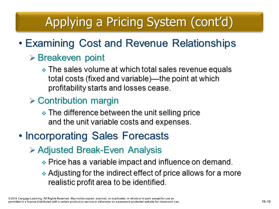 Applying a Pricing System (cont'd)
