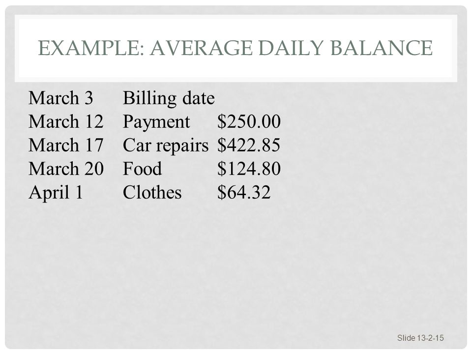 Example: Average Daily Balance