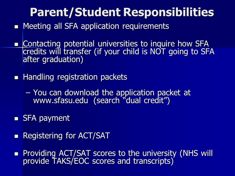 Parent/Student Responsibilities