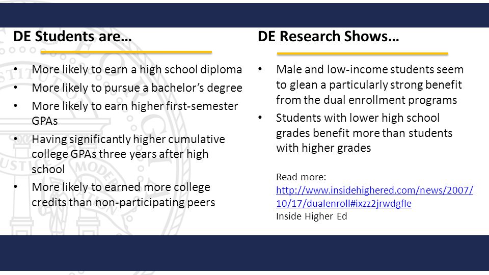 DE Students are… DE Research Shows…