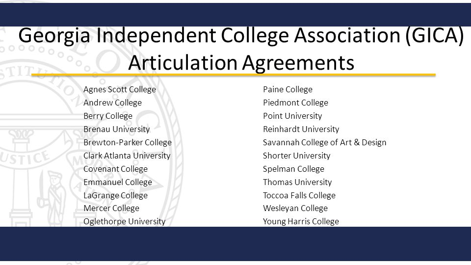 Georgia Independent College Association (GICA) Articulation Agreements