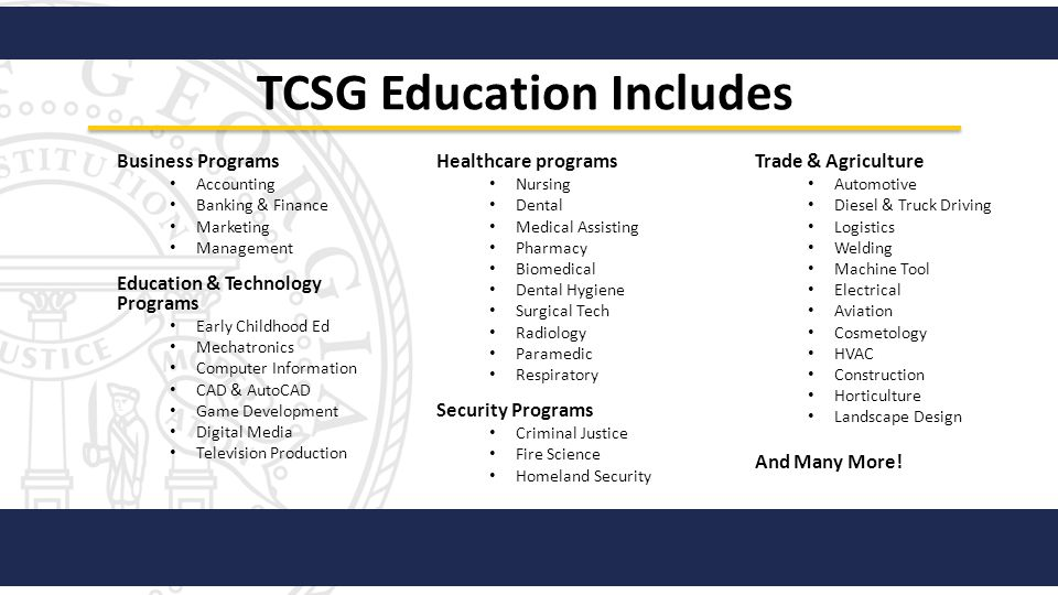 TCSG Education Includes