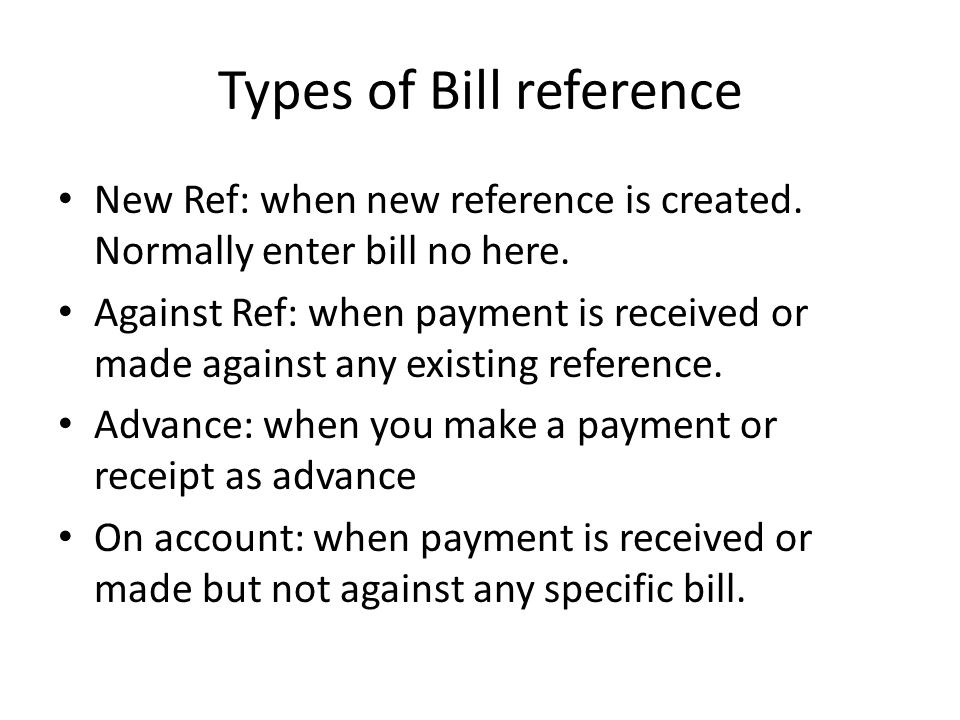 Types of Bill reference
