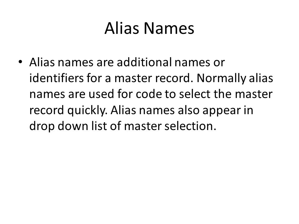 Alias Names