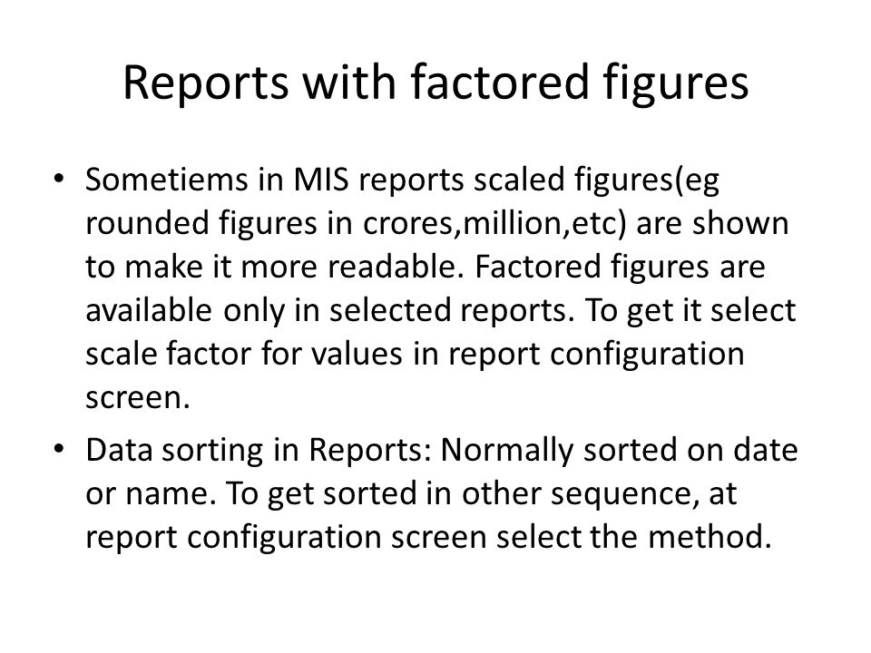 Reports with factored figures