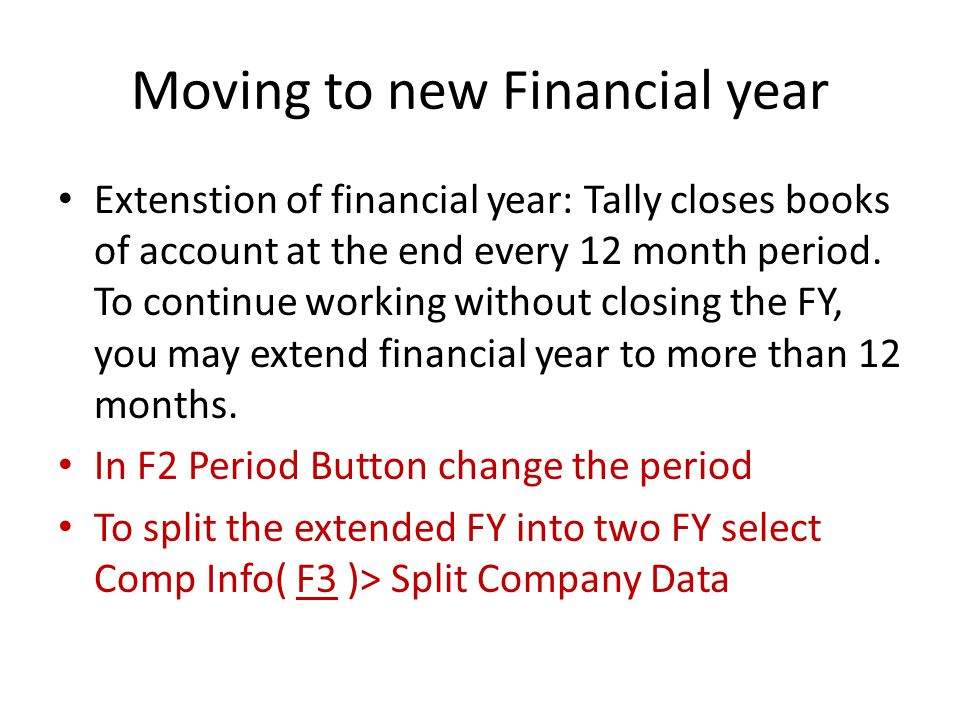 Moving to new Financial year