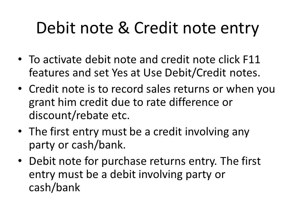 Debit note & Credit note entry