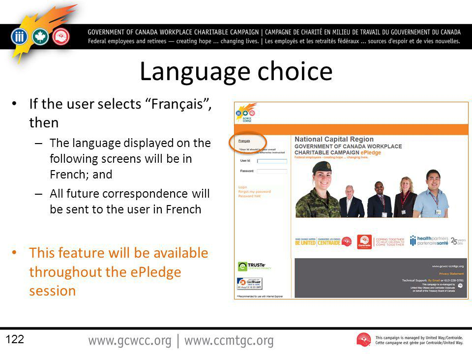 Language choice If the user selects Français , then