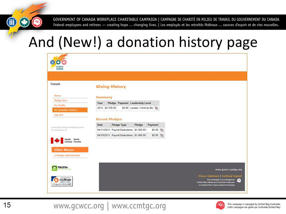 And (New!) a donation history page