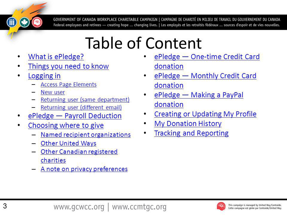 Table of Content What is ePledge