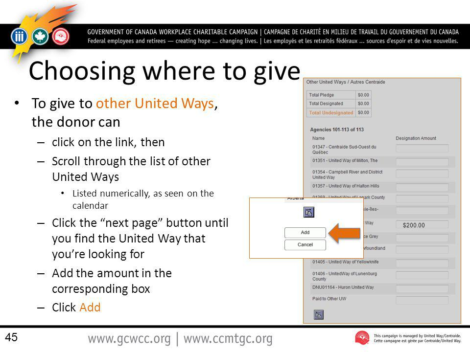 Choosing where to give To give to other United Ways, the donor can