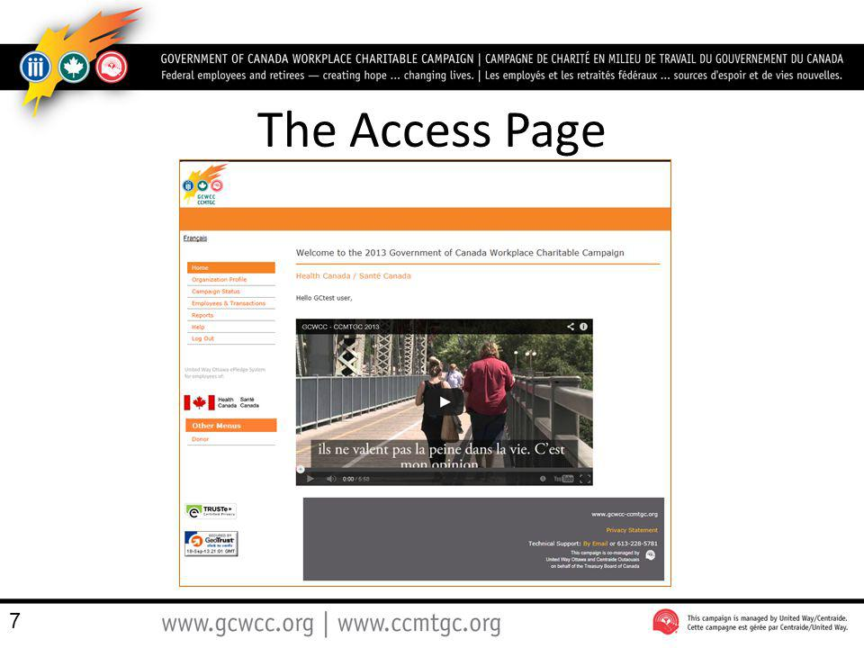 The Access Page