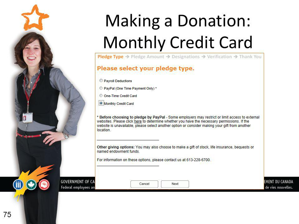 Making a Donation: Monthly Credit Card