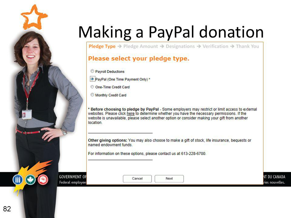 Making a PayPal donation