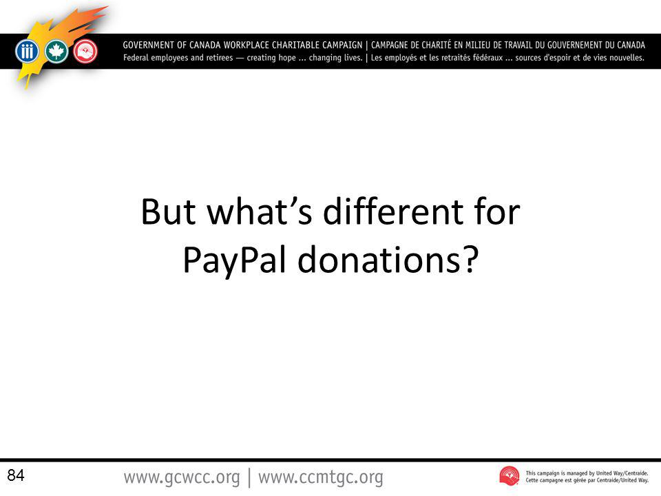 But what's different for PayPal donations