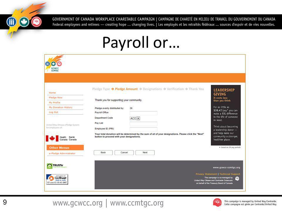 Payroll or…