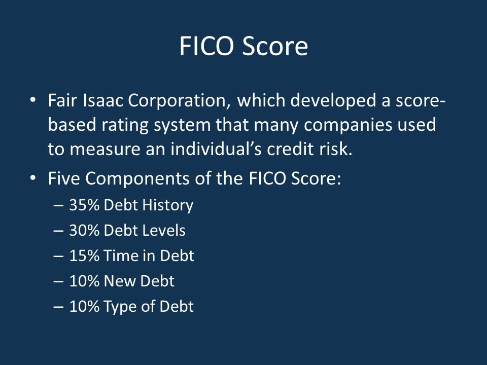 FICO Score Fair Isaac Corporation, which developed a score-based rating system that many companies used to measure an individual's credit risk.