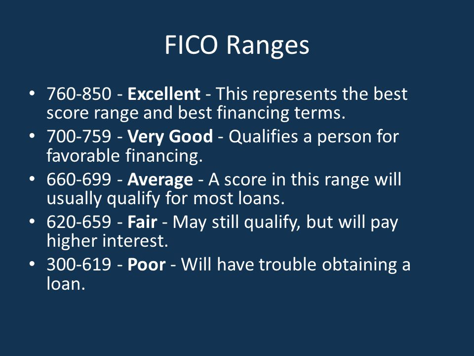 FICO Ranges 760-850 - Excellent - This represents the best score range and best financing terms.