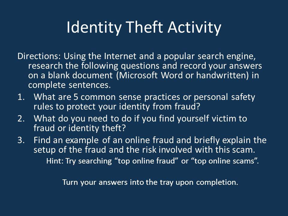 Identity Theft Activity
