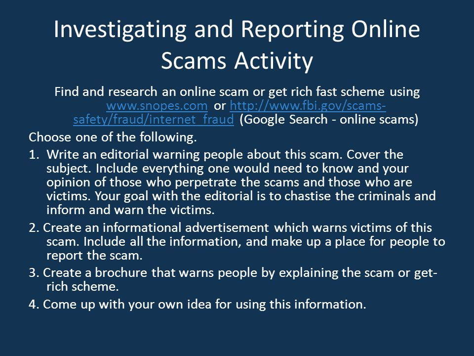 Investigating and Reporting Online Scams Activity