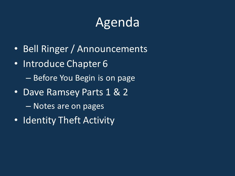 Agenda Bell Ringer / Announcements Introduce Chapter 6