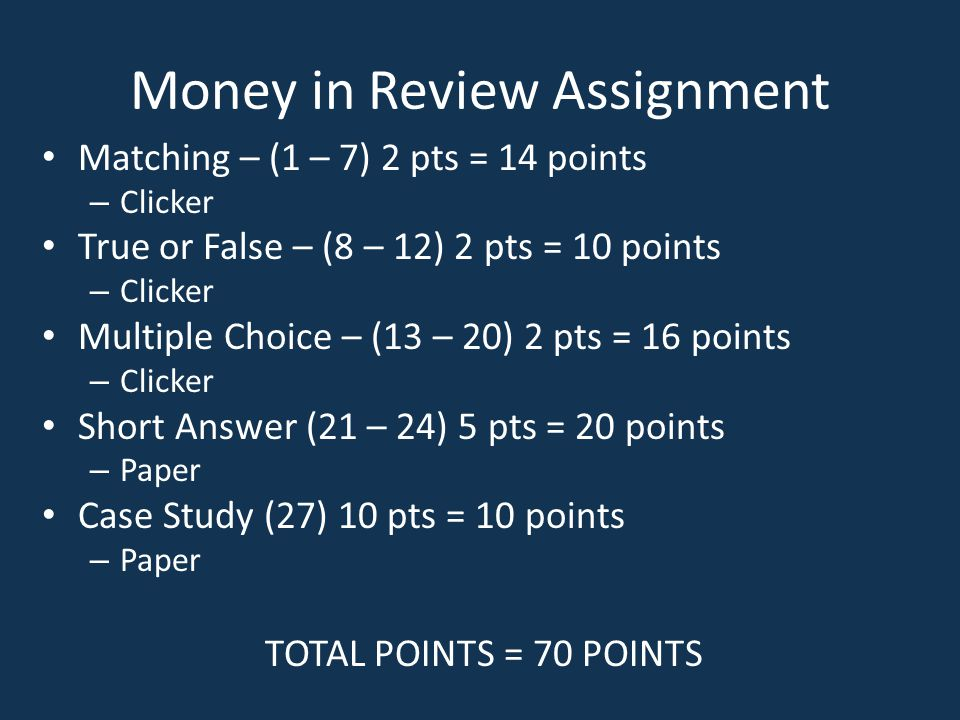 Money in Review Assignment