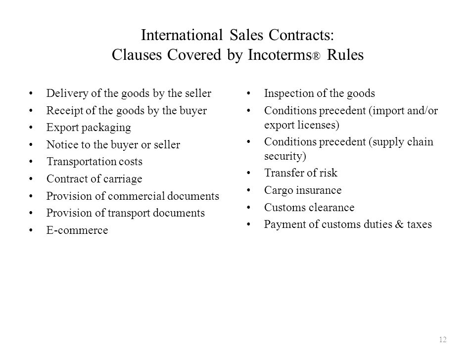 International Sales Contracts: Clauses Covered by Incoterms® Rules