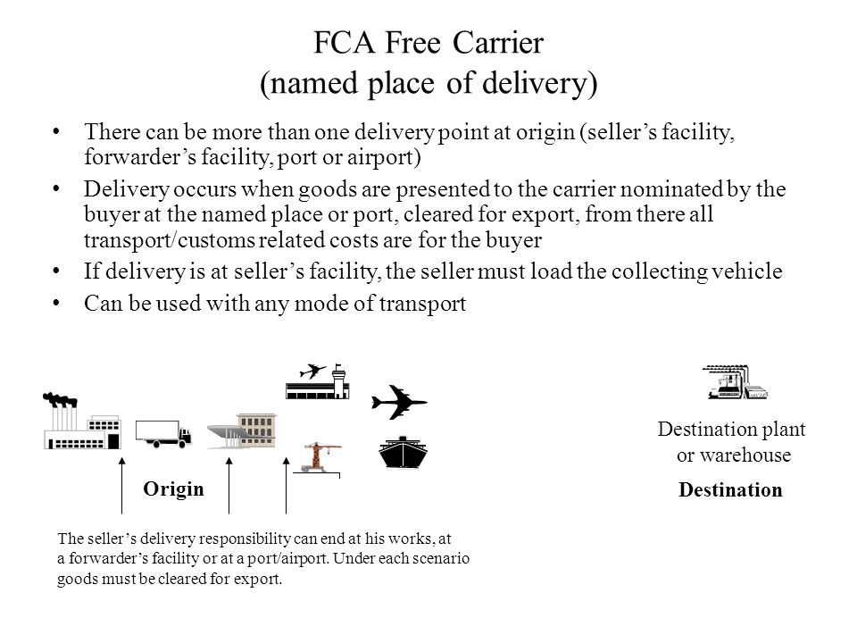 FCA Free Carrier (named place of delivery)