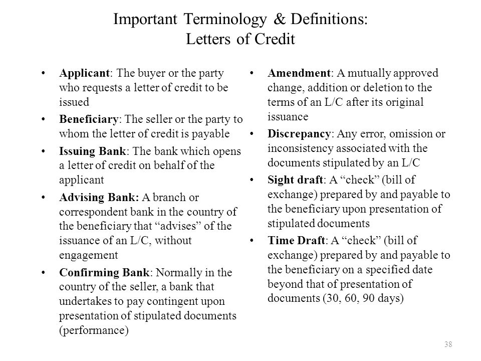 Important Terminology & Definitions: Letters of Credit