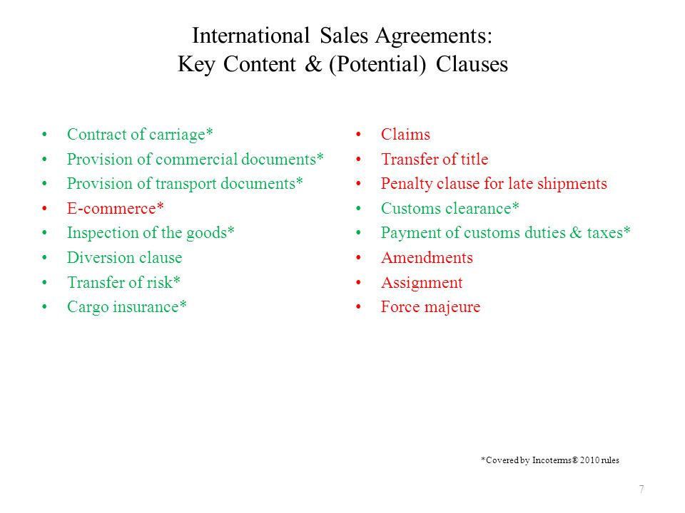 International Sales Agreements: Key Content & (Potential) Clauses