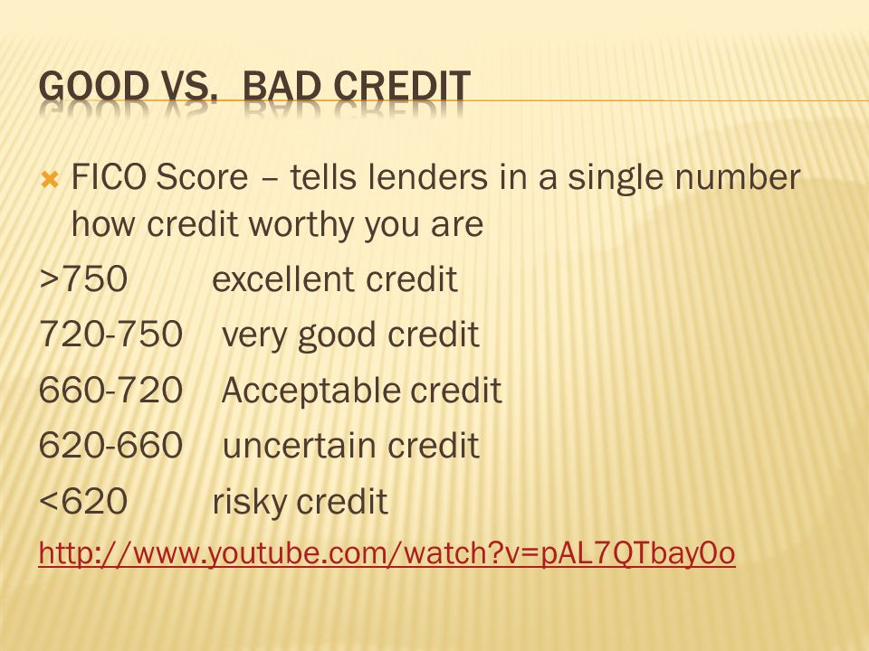 Good vs. Bad Credit FICO Score – tells lenders in a single number how credit worthy you are. >750 excellent credit.